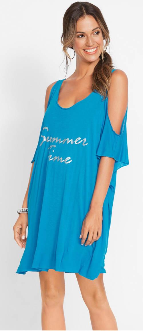 Tyrkysové plážové tričko s průstřihy na rukávech