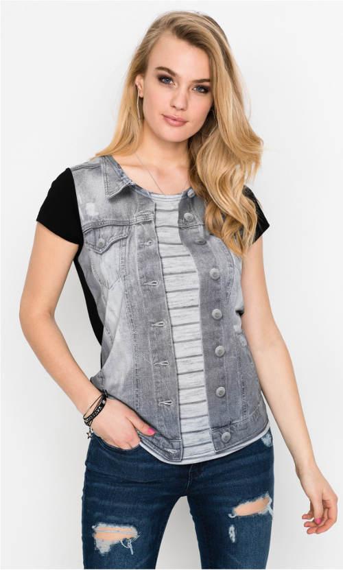 Černé tričko s potiskem šedé riflové vesty