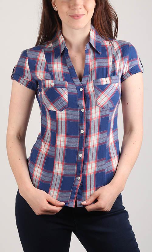 Levná letní karovaná dámská košile