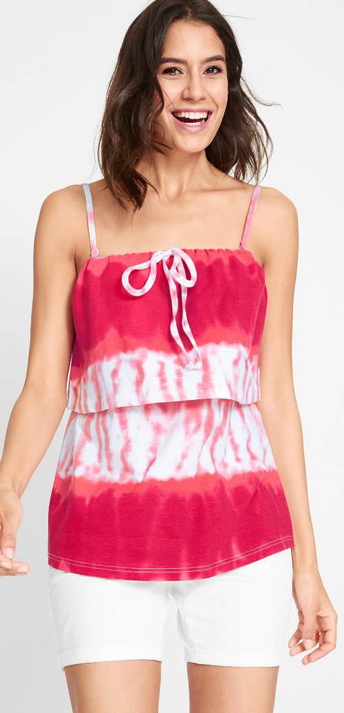 Růžový batikovaný letní top