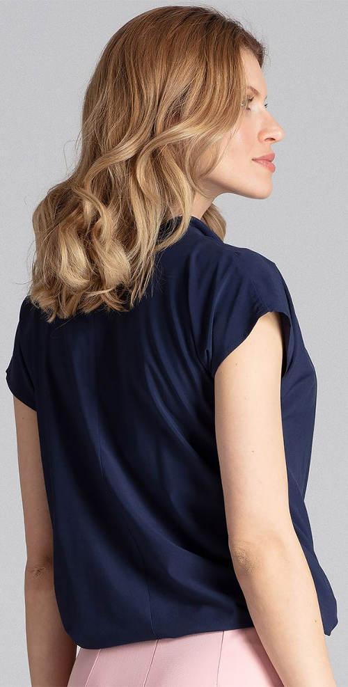Tmavě modrá halenka s krátkými rukávy