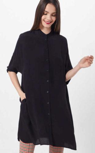 Elegantní dlouhá černá dámská halenka