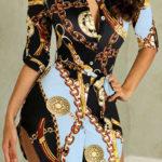 Prodloužená halenka PEYTON - společenské mini šaty s potiskem