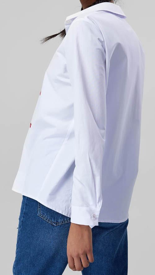 Bílá dámská košile s dlouhým rukávem