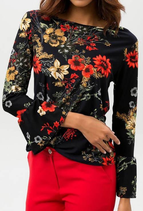 Černá květinová halenka s dlouhými rukávy