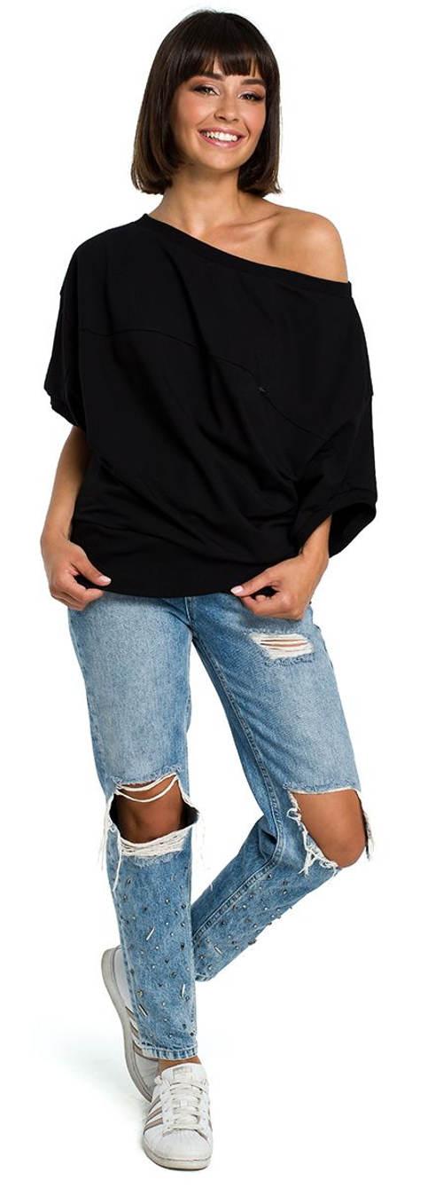 Černé dámské tričko s jedním spadlým ramenem