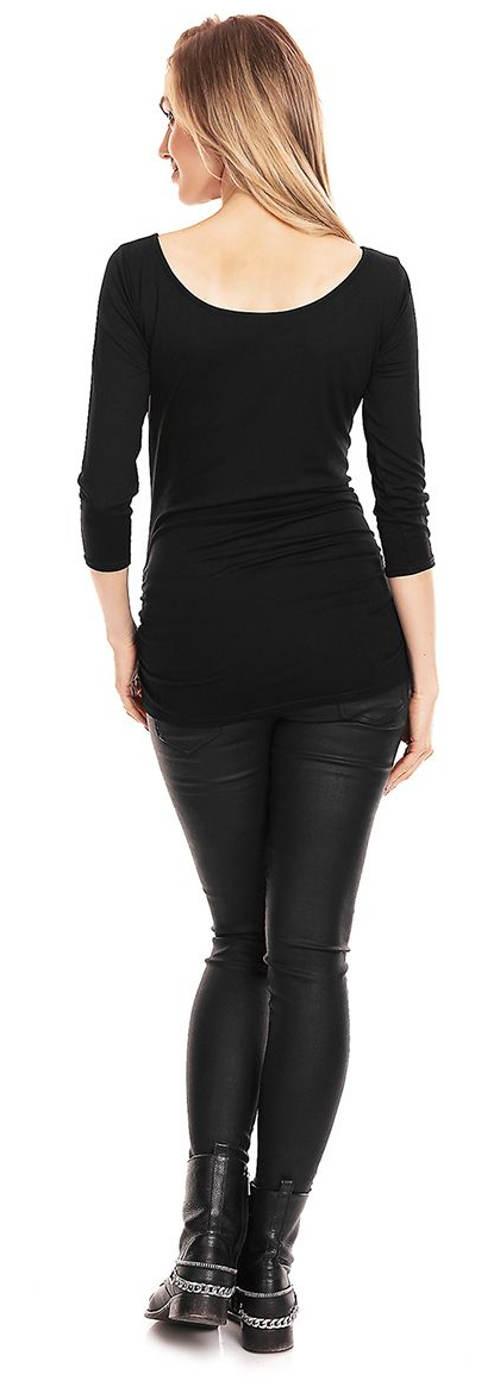 Černé těhotenské tričko s tříčtvrtečními rukávy