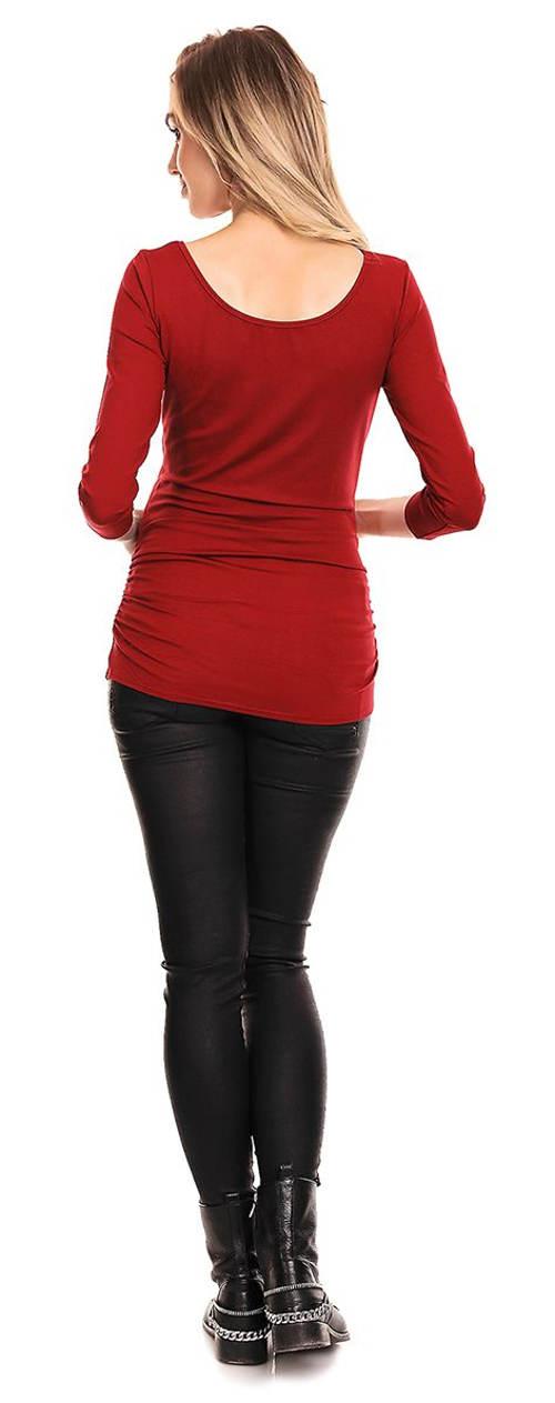 Červené těhotenské tričko s dlouhými rukávy