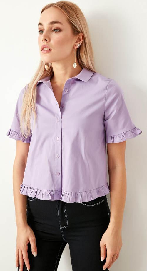 Fialková dámská košile s volánkovými lemy
