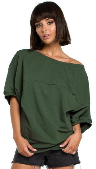 Ležérní zelený dámský top s jedním spadlým rukávem