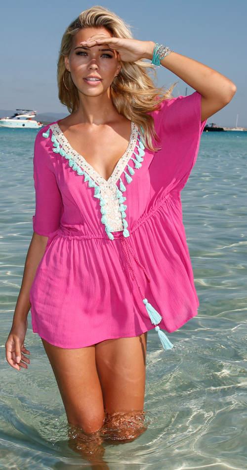 Plážová tunika s ozdobnými střapci
