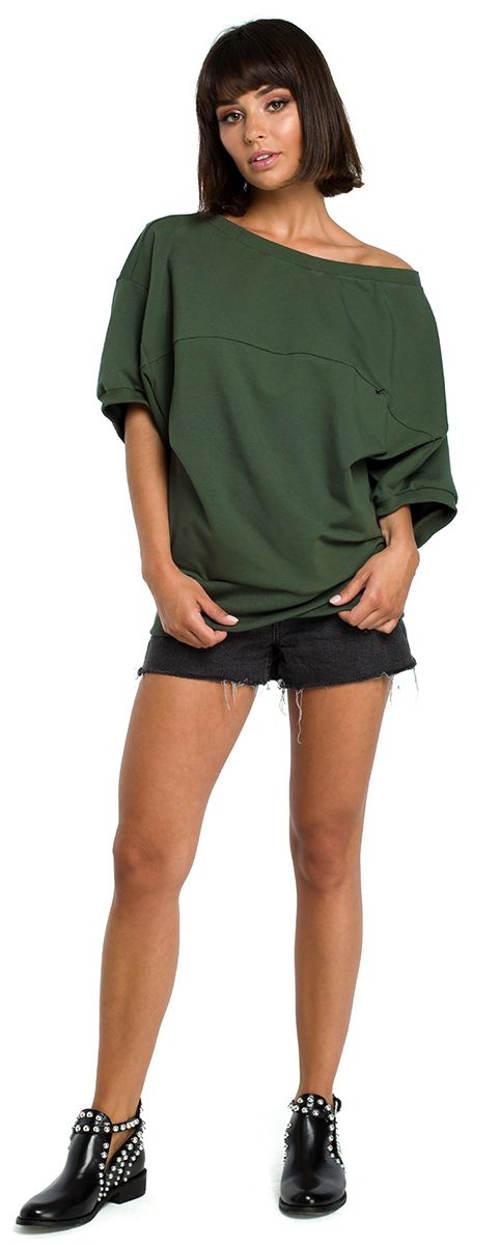 Volné dámské khaki tričko
