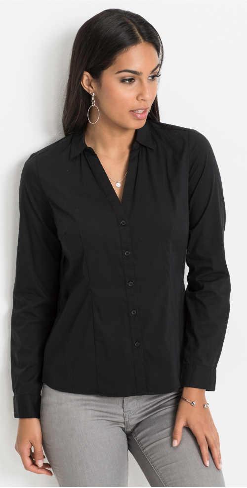 Jednobarevná černá dámská košile s dlouhým rukávem