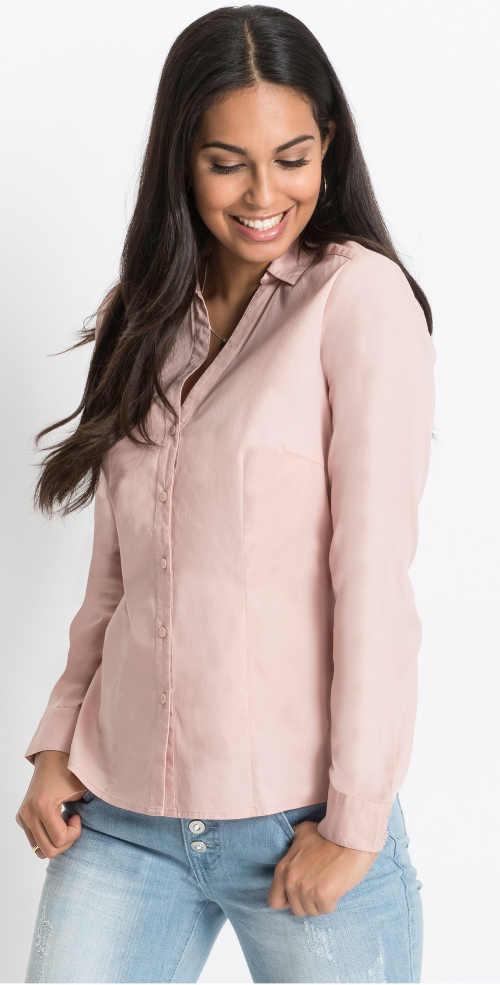 Levná dámská košilová halenka s dlouhým rukávem