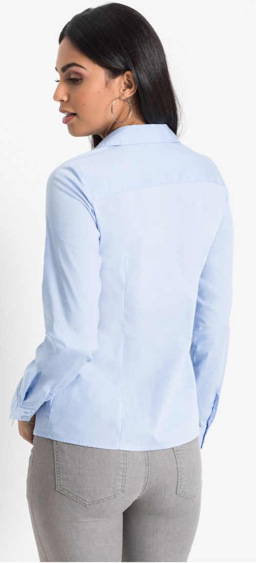 Perleťově modrá dámská košile s dlouhými rukávy