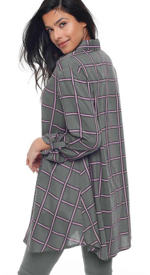 Pohodlná dlouhá košilová tunika