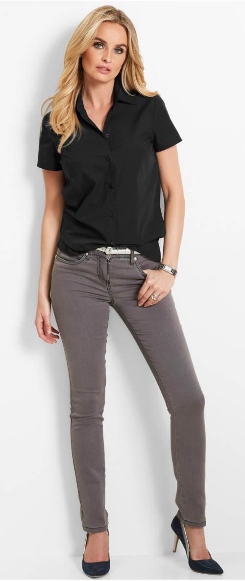 Jednobarevná černá košile s krátkým rukávem