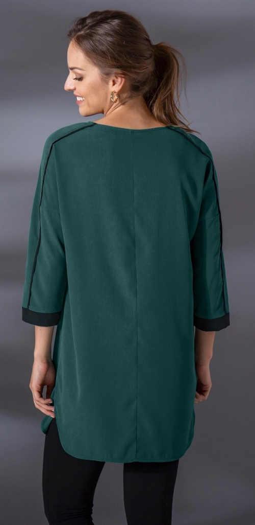Tmavě zelená dámská tunika s tříčtvrtečními rukávy