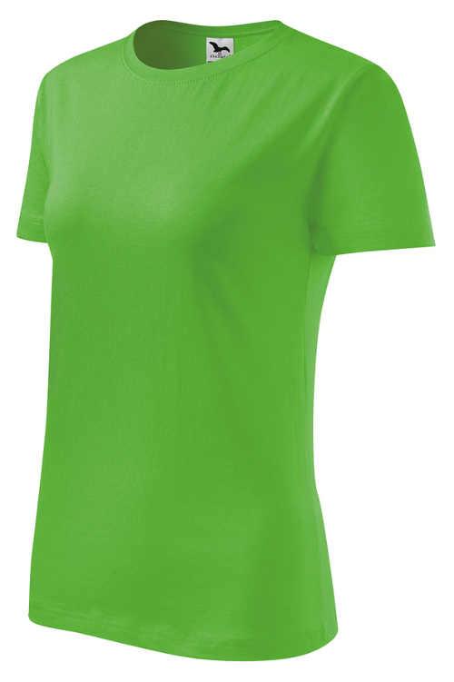 Zelené dámské jednobarevné bavlněné tričko s krátkým rukávem