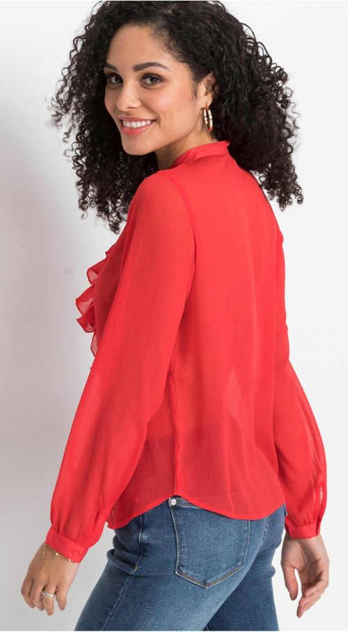 Červená průsvitná dámská halenka
