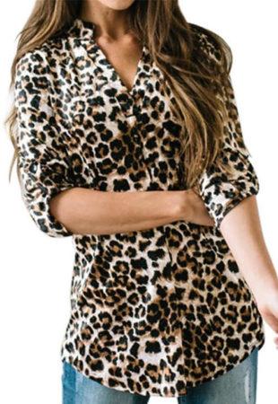 Delší dámská halenka s leopardími vzory