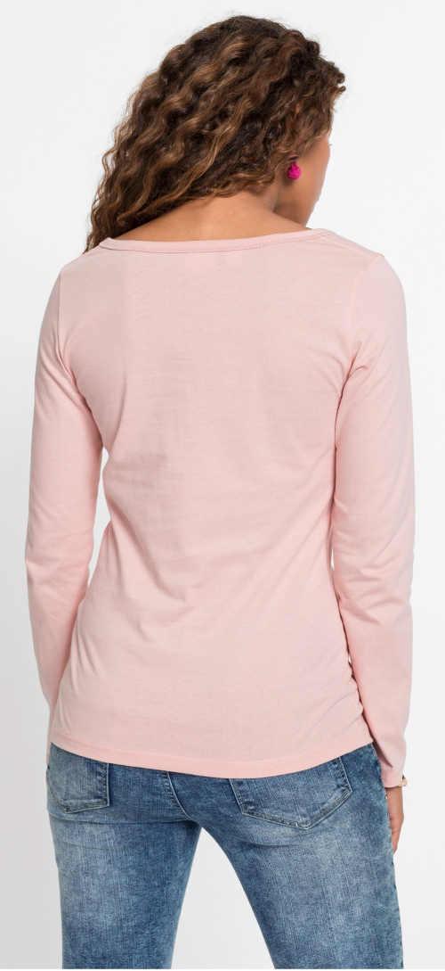 Levné růžové dámské tričko s dlouhým rukávem