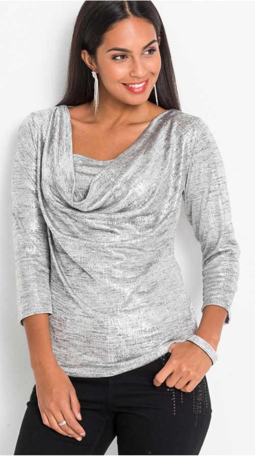 Stříbrná dámská halenka s tříčtvrtečními rukávy