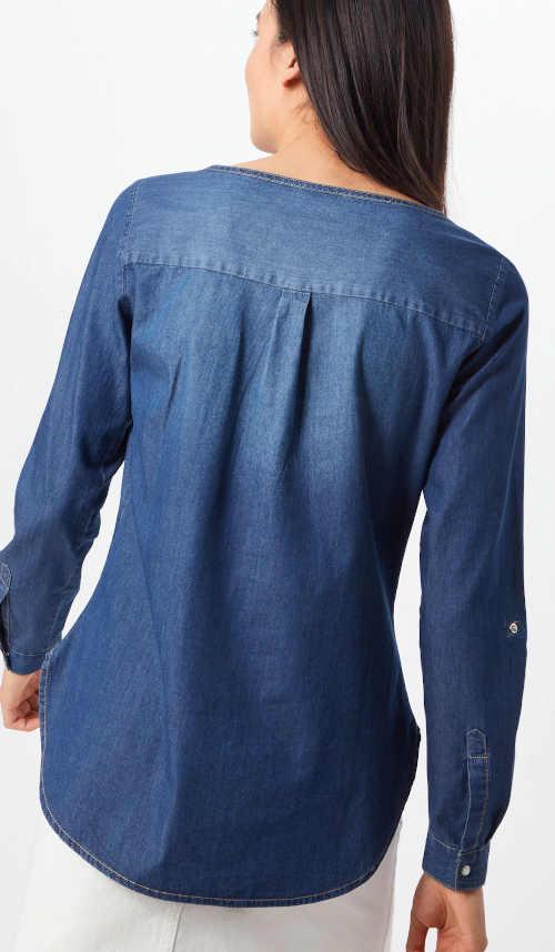 Modrá šisovaná dámská riflová halenka s dlouhými rukávy