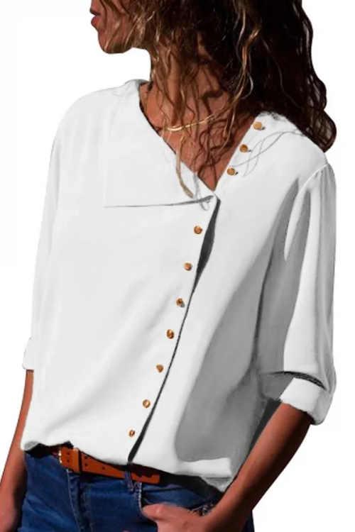 Bílá dámská košile s asymetrickými knoflíky