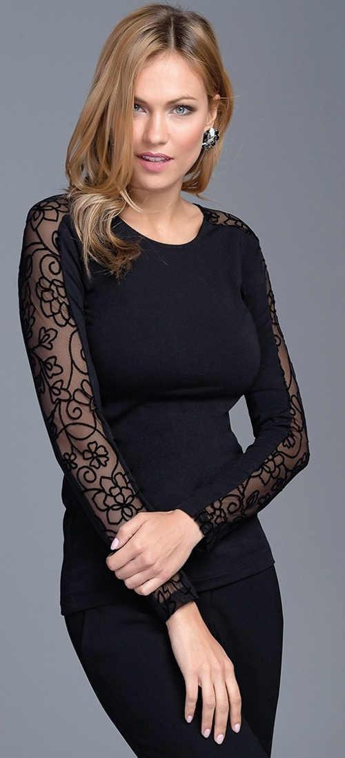 Černé dámské tričko s dlouhými průsvitnými ozdobnými rukávy