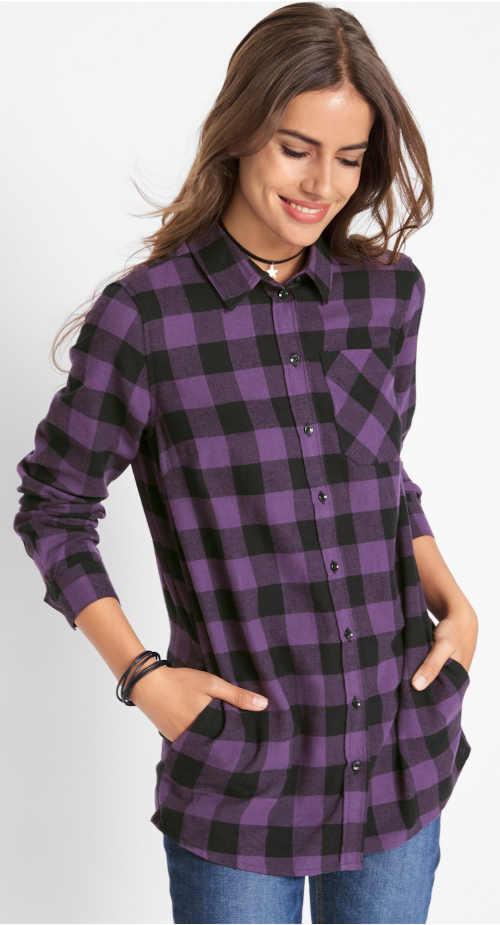 Dámská prodloužená flanelová košile