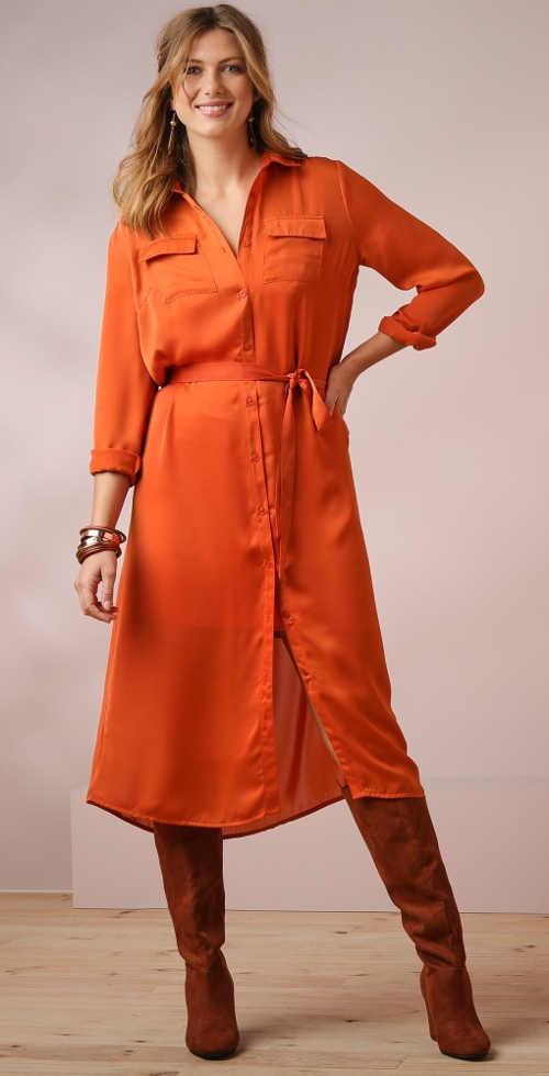 Dlouhá oranžová dámská košile midi délky