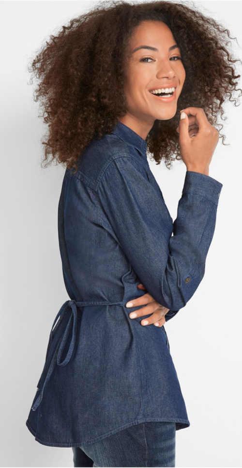 Džínová dámská košile s vázačkou v pase