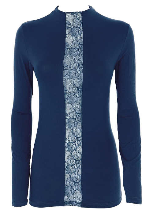 Modré dámské tričko s průsvitnou vsadkou z květinové krajky