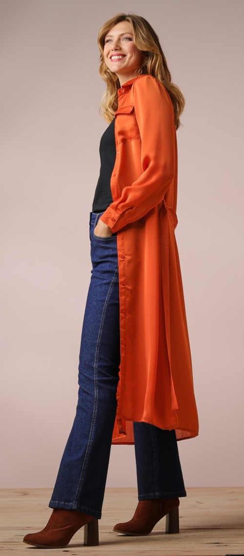 Oranžová dámská maxi košile