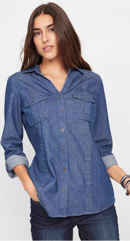 Prodloužená džínová košilová halenka