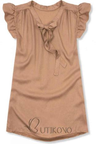 Prodloužený dámský top s krátkými nařasenými rukávy a zavazovací mašlí ve výstřihu