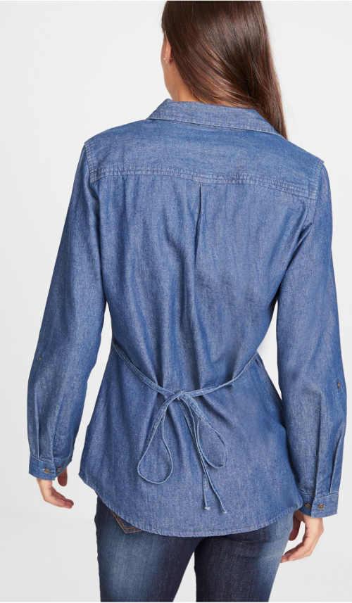 Riflová košile se šněrováním na zádech