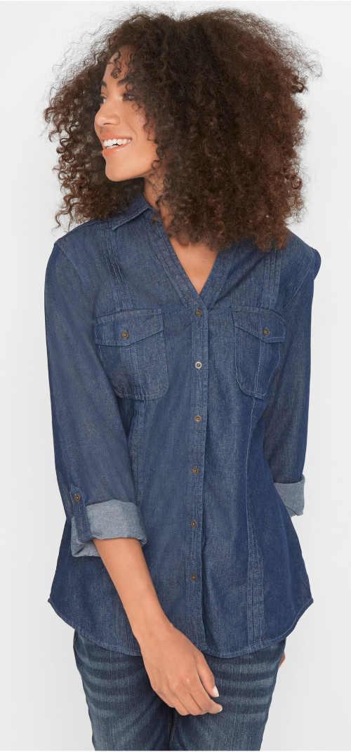 Tmavě modrá riflová košile