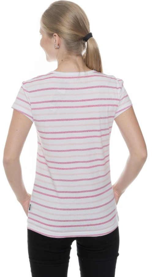 Bílé dámské tričko s růžovým proužkem