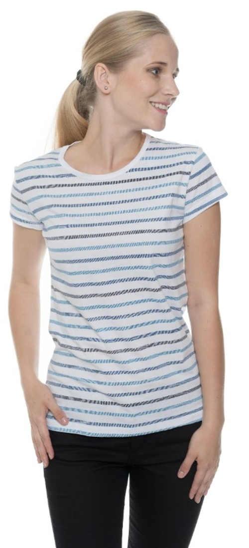 Bílo-modré pruhované dámské tričko s krátkým rukávem