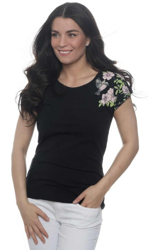 Černé dámské letní tričko s květinovým potiskem na jednom rukávu