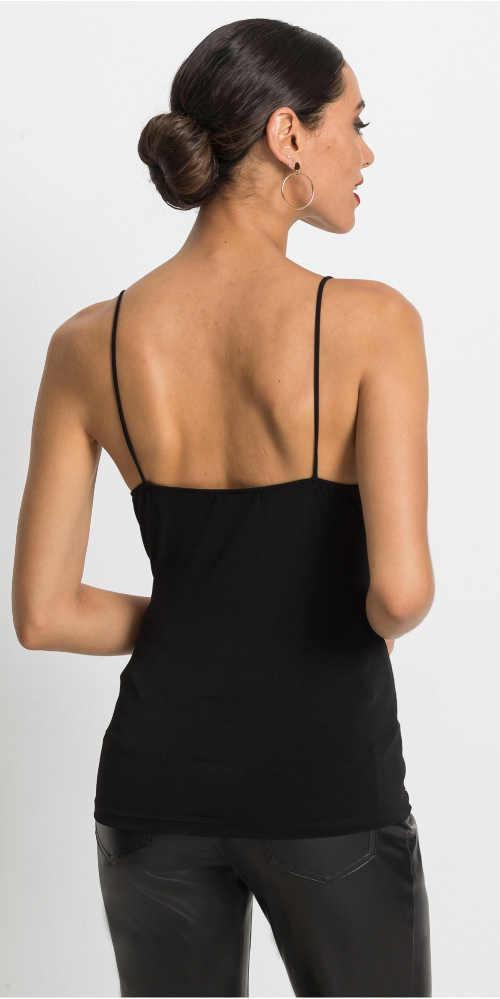 Černé dámské tílko s odhalenými zády