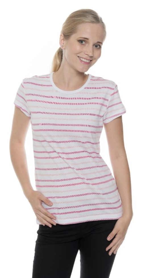 Jednoduché levné pruhované dámské tričko s krátkým rukávem
