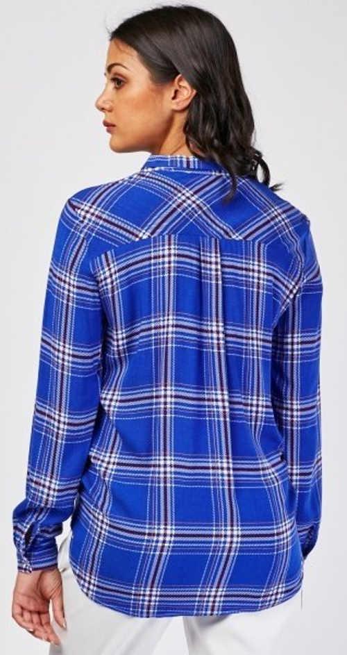 Modrá kostkovaná dámská tunika