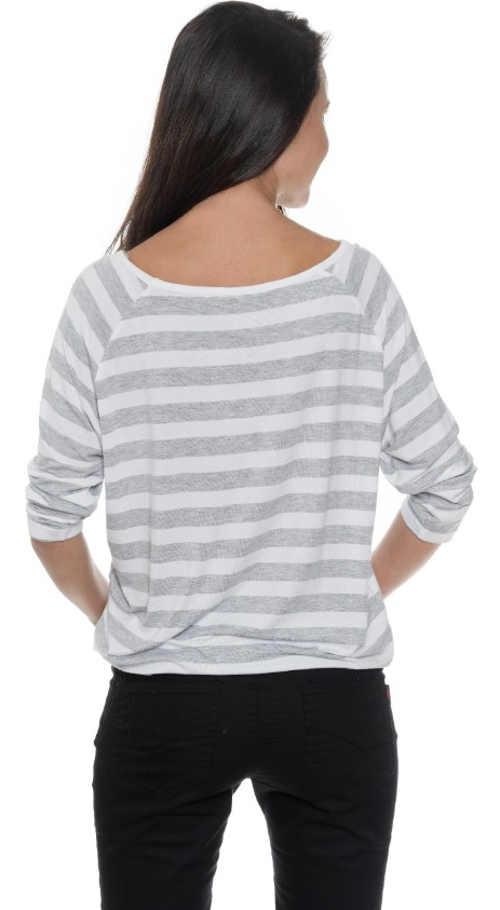 Pohodlné pruhované dámské tričko s tříčtvrtečními rukávy