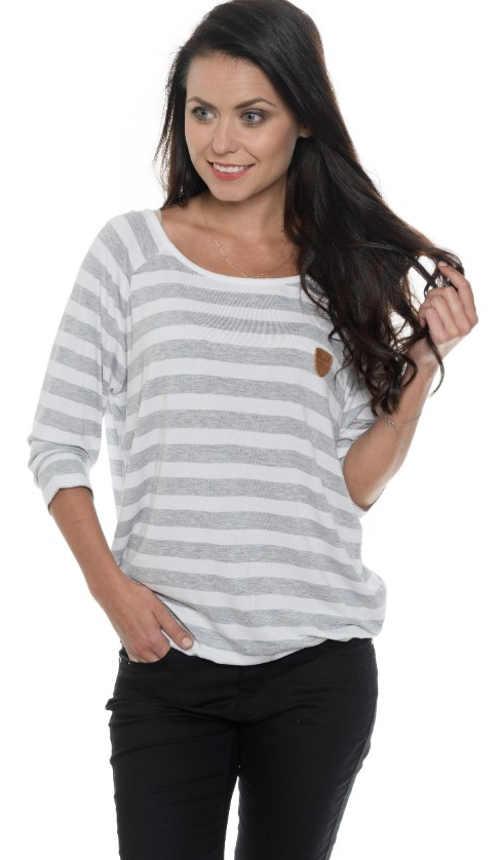 Pruhované bílo šedé dámské tričko s dlouhým rukávem