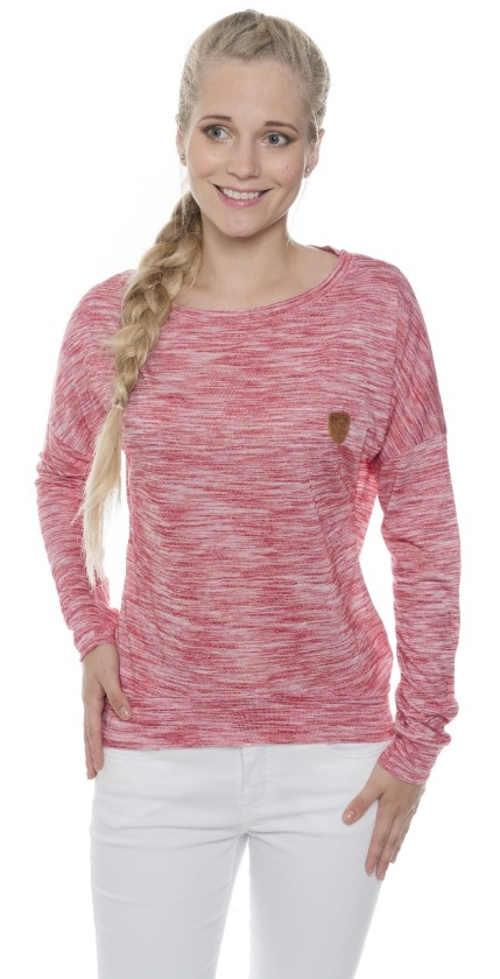 Růžové žíhané dámské tričko s dlouhými rukávy