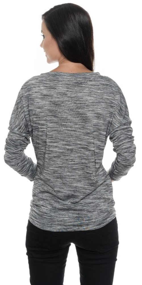Teplé šedé žíhané dámské zimní tričko