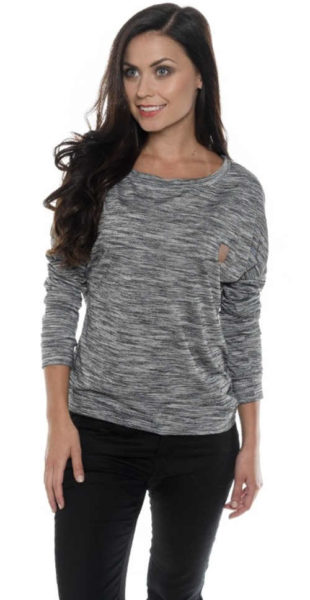 Volné dámské šedé žíhané tričko s dlouhými rukávy